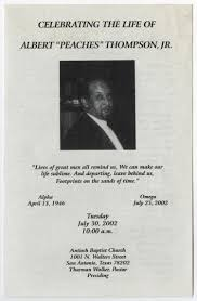Making A Funeral Program Funeral Program For Albert Thompson Jr July 30 2002 The