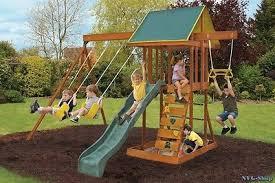 wooden swing sets backyard playground outdoor kids toy slide