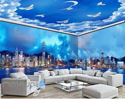 city urban wall murals idecoroom 3d modern city cloud sky wall murals wallpaper decals art print idcqw 000316