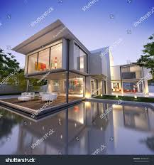 external view contemporary house pool dusk stock illustration