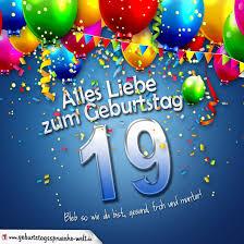 spr che zum 19 geburtstag geburtstagskarte mit bunten ballons konfetti und luftschlangen zum