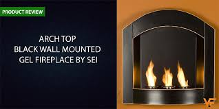 arch top black wall mounted gel fireplace by sei