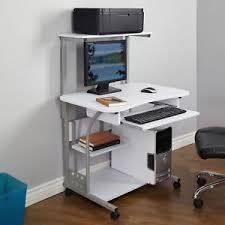 computer and printer table computer table tower sturdy mobile desk with printer shelf new white