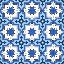 Morocco Design Arabic Pattern Moroccan Blue Tiles Design Stock Vector Art