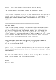 Writing An Effective Cover Letter Odesk Cover Letter Sample For Technical Article Writing