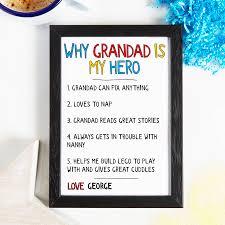 personalised why grandad grandpa is my hero print by coconutgrass