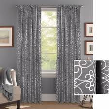 Grey And Silver Curtains Premium Textured Weave Gray Silver Metallic Scroll Print Curtains