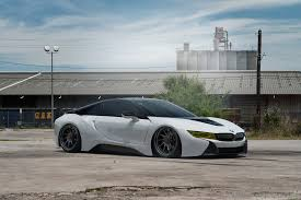 bmw i8 stanced bmw i8 slammed to the ground featuring rotiform gloss black wheels