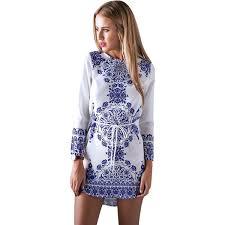 vintage women u0027s classic vintage pattern blue u0026 white folk stylish