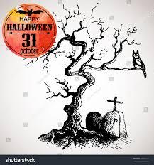 halloween scary tree owl grave typographic stock vector 218637112