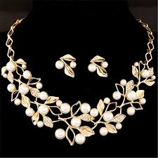 bridal necklace sets silver images Elegant simulated pearl bridal jewelry sets wedding jewelry leaf jpg