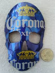 corona recycled skull mask rear view mirror ornament