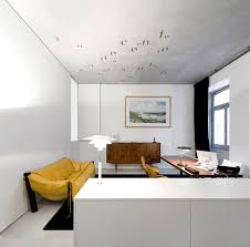 engaging white apartment design feat unique yellow floor sofa and