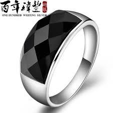 onyx wedding band wei feng 925 silver rings men s rings silver black onyx