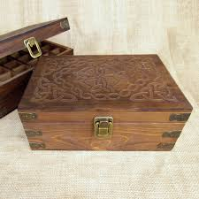 celtic design wood storage box for 15ml essential bottles