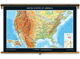 Map Of The United States With States Labeled by Klett Perthes Advanced United States Physical Map On Spring Roller