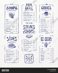 menu template blue pen drawing vector u0026 photo bigstock