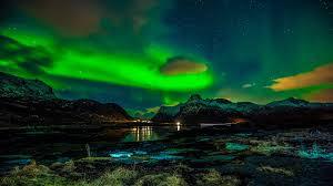 norway lofoten islands mountains winter night northern lights