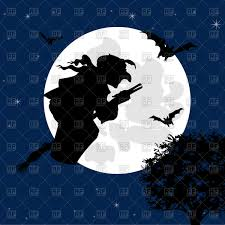 halloween moon night and witch flying on broom vector image 94505