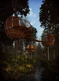 large tree houses with fabulous wooden round and circular