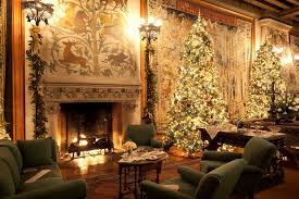 home design a fireplace with christmas tree painting on it and