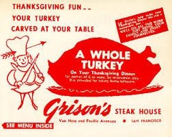 thanksgiving day menus historic sf restaurant menus show what were on