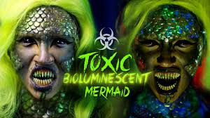 Toxic Halloween Costumes Toxic Bioluminescent Mermaid Halloween Makeup Tutorial