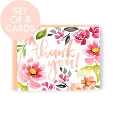 thank you cards set of 8 cards thank you card in mallory s coral and