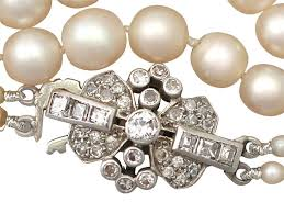 necklace clasps vintage images Double strand pearl necklace with 0 55ct diamond white gold clasp jpg