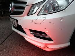 light pink mercedes mercedes e class dented cracked bumper repair london bumper