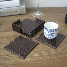 square leather coffee table 10x10cm 6pcs set square leather coffee tea cup coasters pad table