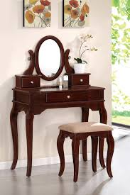 Makeup Vanity With Chair Bedroom Makeup Vanity In White With Drawers And Spinning Mirror