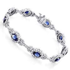 diamond bracelet with sapphire images Ladies blue sapphire diamond bracelet 8 98ct 18k gold jpg