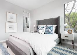 Blue And Gray Bedroom Charcoal Gray Bedroom With Yellow And Gray Pillows Transitional