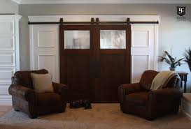 Sliding Barn Door For Home by Living Room Features Traditional Leather Accent Chairs And Sliding