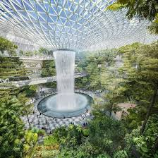 modern green house expansive greenhouse with waterfall planned for singapore airport