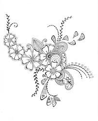 8x10 art print henna style decorative floral design ink pen