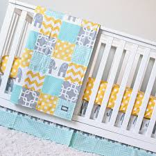 Gray And Yellow Crib Bedding Elephant Crib Bedding Yellow Mint Gray Elephant Baby