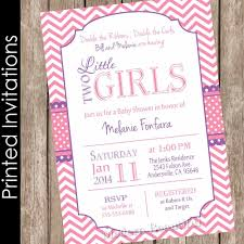 printed twin girls baby shower invitation pink and purple