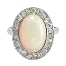 cornflower blue opal edwardian 3 5 carat opal diamond cocktail ring at 1stdibs