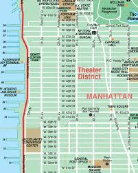 map of nyc streets broadway theatre district new york city streets map