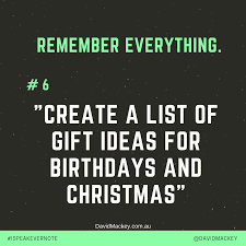 create a list of gift ideas for birthdays and christmas in evernote