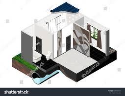 vector isometric cut single store building stock vector 280709699