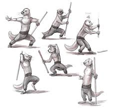 kung fu otter fighting stick poses by temiree on deviantart
