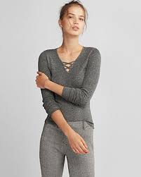 fitted sweater marled cross front fitted v neck sweater express