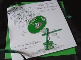 emerald gramophone wedding anniversary card handmade cards pink