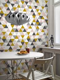 triangles pink grey ochre mural lavmi funkywalls dé webshop