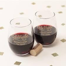 stemless wine glasses wedding favors personalized 9 oz stemless wine glass