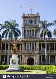 Flags In Hawaii Kamehameha I Statue In Honolulu Clock Tower Of The Old Judiciary