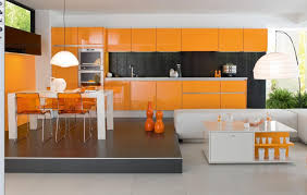 Open Kitchen Cabinet Designs Orange Kitchen Cabinet Design With Backsplash And Pendant Lamps